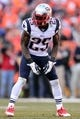 January 19, 2014; Denver, CO, USA; New England Patriots cornerback Kyle Arrington (25) in the first of the game against the Denver Broncos of the 2013 AFC Championship football game at Sports Authority Field at Mile High. Mandatory Credit: Ron Chenoy-USA TODAY Sports