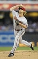 May 2, 2014; San Diego, CA, USA; Arizona Diamondbacks starting pitcher Bronson Arroyo (61) throws during the first inning against the San Diego Padres at Petco Park. Mandatory Credit: Christopher Hanewinckel-USA TODAY Sports