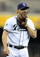 May 2, 2014; San Diego, CA, USA; San Diego Padres starting pitcher Andrew Cashner (34) yells into his glove after an out against the Arizona Diamondbacks at Petco Park. Mandatory Credit: Christopher Hanewinckel-USA TODAY Sports