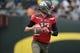 May 3, 2014; Eugene, OR, USA; Oregon Ducks quarterback Jeff Locke (17) runs the ball down field at Autzen Stadium. Mandatory Credit: Scott Olmos-USA TODAY Sports