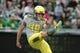 May 3, 2014; Eugene, OR, USA; Oregon Ducks Place Kicker Eric Solis (49) kicks the ball at Autzen Stadium. Mandatory Credit: Scott Olmos-USA TODAY Sports