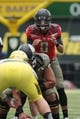 May 3, 2014; Eugene, OR, USA; Oregon Ducks quarterback Marcus Mariota (8) calls the play prior to the snap at Autzen Stadium. Mandatory Credit: Scott Olmos-USA TODAY Sports
