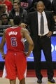 Dec 14, 2013; Washington, DC, USA; Los Angeles Clippers head coach Doc Rivers (R) talks to Clippers center DeAndre Jordan (6) against the Washington Wizards at Verizon Center. Mandatory Credit: Geoff Burke-USA TODAY Sports