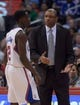 Feb 12, 2014; Los Angeles, CA, USA; Los Angeles Clippers coach Doc Rivers (right) and guard Darren Collison during the game against the Portland Trail Blazers at Staples Center. Mandatory Credit: Kirby Lee-USA TODAY Sports