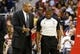 Dec 14, 2013; Washington, DC, USA; Los Angeles Clippers head coach Doc Rivers (L) talks to referee Tony Brown (R) against the Washington Wizards at Verizon Center. Mandatory Credit: Geoff Burke-USA TODAY Sports