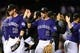 May 5, 2014; Denver, CO, USA; Colorado Rockies shortstop Troy Tulowitzki (2) celebrates following the win over the Texas Rangers at Coors Field. The Rockies defeated the Rangers 8-2. Mandatory Credit: Ron Chenoy-USA TODAY Sports