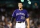 May 5, 2014; Denver, CO, USA; Colorado Rockies third baseman Nolan Arenado (28) during the the seventh inning against the Texas Rangers at Coors Field. Mandatory Credit: Ron Chenoy-USA TODAY Sports