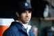 May 5, 2014; Detroit, MI, USA; Detroit Tigers manager Brad Ausmus (7) in the dugout against the Houston Astros at Comerica Park. Mandatory Credit: Rick Osentoski-USA TODAY Sports