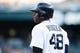 May 5, 2014; Detroit, MI, USA; Detroit Tigers right fielder Torii Hunter (48) during the game against the Houston Astros at Comerica Park. Mandatory Credit: Rick Osentoski-USA TODAY Sports