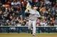 May 5, 2014; Detroit, MI, USA; Houston Astros third baseman Matt Dominguez (30) makes a throw against the Detroit Tigers at Comerica Park. Mandatory Credit: Rick Osentoski-USA TODAY Sports
