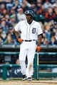 May 5, 2014; Detroit, MI, USA; Detroit Tigers right fielder Torii Hunter (48) reacts after calling for time and getting a strike call when time wasn't granted in the third inning against the Houston Astros at Comerica Park. Mandatory Credit: Rick Osentoski-USA TODAY Sports