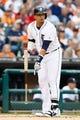 Apr 21, 2014; Detroit, MI, USA; Detroit Tigers designated hitter Victor Martinez (41) reacts at bat against the Chicago White Sox at Comerica Park. Mandatory Credit: Rick Osentoski-USA TODAY Sports