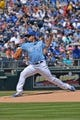 May 4, 2014; Kansas City, MO, USA; Kansas City Royals pitcher Jason Vargas (51) delivers a pitch against the Detroit Tigers during the first inning at Kauffman Stadium. Mandatory Credit: Peter G. Aiken-USA TODAY Sports