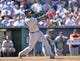 May 4, 2014; Kansas City, MO, USA; Detroit Tigers right fielder Torii Hunter (48) singles in two runs against the Kansas City Royals during the eighth inning at Kauffman Stadium. Mandatory Credit: Peter G. Aiken-USA TODAY Sports