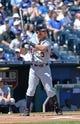 May 4, 2014; Kansas City, MO, USA; Detroit Tigers second basemen Ian Kinsler (3) at bat against the Kansas City Royals during the first inning at Kauffman Stadium. Mandatory Credit: Peter G. Aiken-USA TODAY Sports