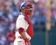 May 4, 2014; Philadelphia, PA, USA; Philadelphia Phillies catcher Carlos Ruiz (51) in a game against the Washington Nationals at Citizens Bank Park. The Phillies defeated the Nationals 1-0.  Mandatory Credit: Bill Streicher-USA TODAY Sports