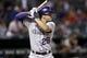 May 7, 2014; Arlington, TX, USA; Colorado Rockies third baseman Nolan Arenado (28) bats against the Texas Rangers during the ninth inning of a baseball game at Globe Life Park in Arlington. The Rockies won 9-2. Mandatory Credit: Jim Cowsert-USA TODAY Sports