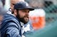 Apr 24, 2014; Detroit, MI, USA; Detroit Tigers relief pitcher Joba Chamberlain (44) in the dugout against the Chicago White Sox at Comerica Park. Mandatory Credit: Rick Osentoski-USA TODAY Sports