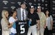 May 9, 2014; Jacksonville, FL, USA; Blake Bortles (Central Florida) poses with his family after addressing the media at the Upper West Touchdown Club at EverBank Field a day after being selected as the third overall pick in the first round of the 2014 NFL draft by the Jacksonville Jaguars. L-R girlfriend Lindsey Duke, his mother Suzy Bortles, Blake Bortles, his father Rob Bortles his uncle Randy Bortles and Laura Bortles. Mandatory Credit: John David Mercer-USA TODAY Sports