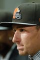 May 9, 2014; Berea, OH, USA; Cleveland Browns first round draft pick Johnny Manziel (Texas A&M) during a press conference at the Cleveland Browns Headquarters. Mandatory Credit: Joe Maiorana-USA TODAY Sports