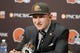 May 9, 2014; Berea, OH, USA; Cleveland Browns first round draft pick Johnny Manziel (Texas A&M) speaks during a press conference at the Cleveland Browns Headquarters. Mandatory Credit: Joe Maiorana-USA TODAY Sports