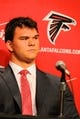May 9, 2014; Atlanta, GA, USA; Atlanta Falcons first round draft pick tackle Jake Matthews (Texas A&M) reacts during a press conference at Falcons Training Facility. Mandatory Credit: Dale Zanine-USA TODAY Sports