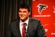 May 9, 2014; Atlanta, GA, USA; Atlanta Falcons first round draft pick tackle Jake Matthews (Texas A&M) speaks during a press conference at Falcons Training Facility. Mandatory Credit: Dale Zanine-USA TODAY Sports