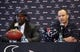May 9, 2014; Houston, TX, USA; Houston Texans head coach Bill O'Brien (right) speaks to the media during a press conference to introduce first-round draft pick Jadeveon Clowney (left) at Reliant Stadium. Mandatory Credit: Troy Taormina-USA TODAY Sports