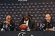 May 9, 2014; Houston, TX, USA; Houston Texans general manager Rick Smith (left) and head coach Bill O'Brien (right) talk during a press conference to introduce first-round draft pick Jadeveon Clowney (middle) at Reliant Stadium. Mandatory Credit: Troy Taormina-USA TODAY Sports