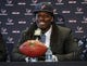 May 9, 2014; Houston, TX, USA; The Houston Texans hold a press conference to introduce first-round draft pick Jadeveon Clowney at Reliant Stadium. Mandatory Credit: Troy Taormina-USA TODAY Sports
