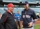 May 9, 2014; Milwaukee, WI, USA;  New York Yankees shortstop Derek Jeter (right) greets Wisconsin basketball coach Bo Ryan (left) before game against the Milwaukee Brewers at Miller Park. Mandatory Credit: Benny Sieu-USA TODAY Sports