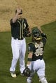 May 9, 2014; Oakland, CA, USA; Oakland Athletics relief pitcher Fernando Rodriguez (33, left) celebrates with catcher Derek Norris (36) after the game against the Washington Nationals at O.co Coliseum. The Athletics defeated the Nationals 8-0. Mandatory Credit: Kyle Terada-USA TODAY Sports
