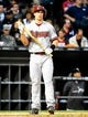 May 9, 2014; Chicago, IL, USA; Arizona Diamondbacks first baseman Paul Goldschmidt (44) during the fourth inning at U.S Cellular Field. Mandatory Credit: Mike DiNovo-USA TODAY Sports