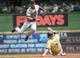 May 11, 2014; Milwaukee, WI, USA; New York Yankees shortstop Derek Jeter (2) completes a double play after forcing out Milwaukee Brewers first baseman Mark Reynolds (7) in the second inning at Miller Park. Mandatory Credit: Benny Sieu-USA TODAY Sports