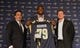 May 13, 2014; St. Louis, MO, USA; St. Louis Rams head coach Jeff Fisher  (left), first-round pick offensive lineman Greg Robinson (middle) and general manager Les Snead pose for a photo after a press conference at Rams Park. Mandatory Credit: Jeff Curry-USA TODAY Sports