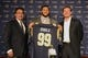 May 13, 2014; St. Louis, MO, USA; St. Louis Rams head coach Jeff Fisher (left), first-round pick defensive tackle Aaron Donald (middle) and general manager Les Snead pose for a photo after a press conference at Rams Park. Mandatory Credit: Jeff Curry-USA TODAY Sports