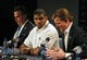 May 13, 2014; St. Louis, MO, USA; St. Louis Rams seventh round pick defensive end Michael Sam (middle) looks on as general manager Les Snead talks with the media during a press conference at Rams Park. Mandatory Credit: Jeff Curry-USA TODAY Sports