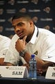 May 13, 2014; St. Louis, MO, USA; St. Louis Rams seventh round pick defensive end Michael Sam talks with the media during a press conference at Rams Park. Mandatory Credit: Jeff Curry-USA TODAY Sports