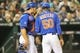 May 14, 2014; New York, NY, USA;  New York Mets catcher Anthony Recker (20) visits starting pitcher Rafael Montero (50) during the third inning at Citi Field. Mandatory Credit: Anthony Gruppuso-USA TODAY Sports