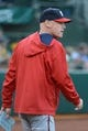 May 9, 2014; Oakland, CA, USA; Washington Nationals manager Matt Williams (9) looks on during the first inning against the Oakland Athletics at O.co Coliseum. The Athletics defeated the Nationals 8-0.  Mandatory Credit: Kyle Terada-USA TODAY Sports