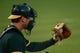 May 10, 2014; Oakland, CA, USA; Detail view of Oakland Athletics catcher John Jaso (5) catching the baseball during the sixth inning against the Washington Nationals at O.co Coliseum. The Athletics defeated the Nationals 4-3 in 10 innings. Mandatory Credit: Kyle Terada-USA TODAY Sports