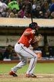 May 10, 2014; Oakland, CA, USA; Washington Nationals center fielder Denard Span (2) bats against the Oakland Athletics during the 10th inning at O.co Coliseum. The Athletics defeated the Nationals 4-3 in 10 innings. Mandatory Credit: Kyle Terada-USA TODAY Sports