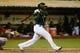 May 10, 2014; Oakland, CA, USA; Oakland Athletics designated hitter Alberto Callaspo (18) bats against the Washington Nationals during the 10th inning at O.co Coliseum. The Athletics defeated the Nationals 4-3 in 10 innings. Mandatory Credit: Kyle Terada-USA TODAY Sports