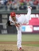 May 17, 2014; Philadelphia, PA, USA; Philadelphia Phillies starting pitcher Cole Hamels (35) throws a pitch during second inning against the Cincinnati Reds at Citizens Bank Park. The Phillies defeated the Reds, 12-1. Mandatory Credit: Eric Hartline-USA TODAY Sports