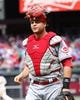 May 18, 2014; Philadelphia, PA, USA; Cincinnati Reds catcher Devin Mesoraco (39) lifts his mask as he heads back to the dugout in a game against the Philadelphia Phillies at Citizens Bank Park. The Phillies won 8-3. Mandatory Credit: Bill Streicher-USA TODAY Sports