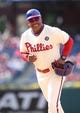 May 18, 2014; Philadelphia, PA, USA; Philadelphia Phillies first base coach Juan Samuel (8) in a game against the Cincinnati Reds at Citizens Bank Park. The Phillies won 8-3. Mandatory Credit: Bill Streicher-USA TODAY Sports