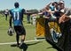 May 16, 2014; Jacksonville, FL, USA; Jacksonville Jaguars wide receiver Marqise Lee (11) greets fans before the start of Rookie Minicamp at Florida Blue Health and Wellness Practice Fields. Mandatory Credit: Phil Sears-USA TODAY Sports