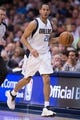Apr 10, 2014; Dallas, TX, USA; Dallas Mavericks guard Devin Harris (20) during the game against the San Antonio Spurs at the American Airlines Center. The Spurs defeated the Mavericks 109-100. Mandatory Credit: Jerome Miron-USA TODAY Sports