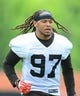 May 21, 2014; Berea, OH, USA; Cleveland Browns linebacker Jabaal Sheard (97) during organized team activities at Cleveland Browns practice facility. Mandatory Credit: Andrew Weber-USA TODAY Sports