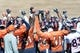 May 28, 2013; Englewood, CO, USA; Members of the Denver Broncos huddle before the start of organized team activities at the Broncos training facility. Mandatory Credit: Ron Chenoy-USA TODAY Sports